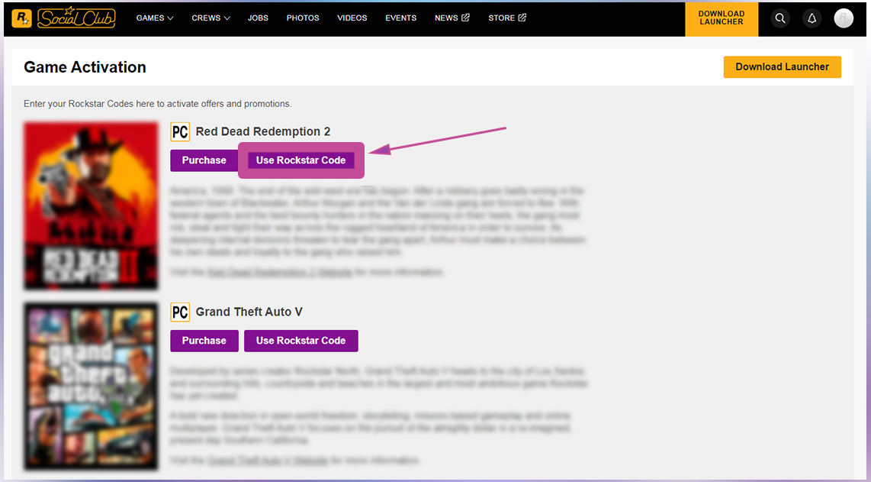 Rockstar Aktivierung per Webseite. Schritt 3