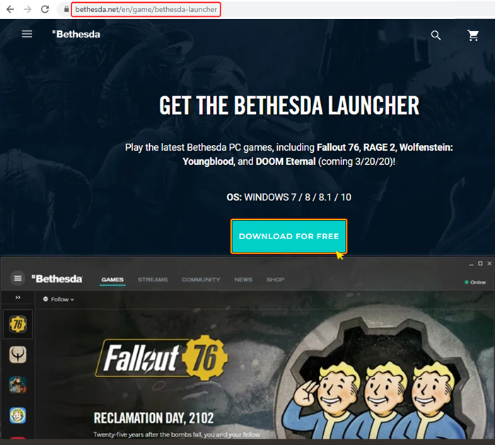 Activation on Bethesda Launcher. Step 1