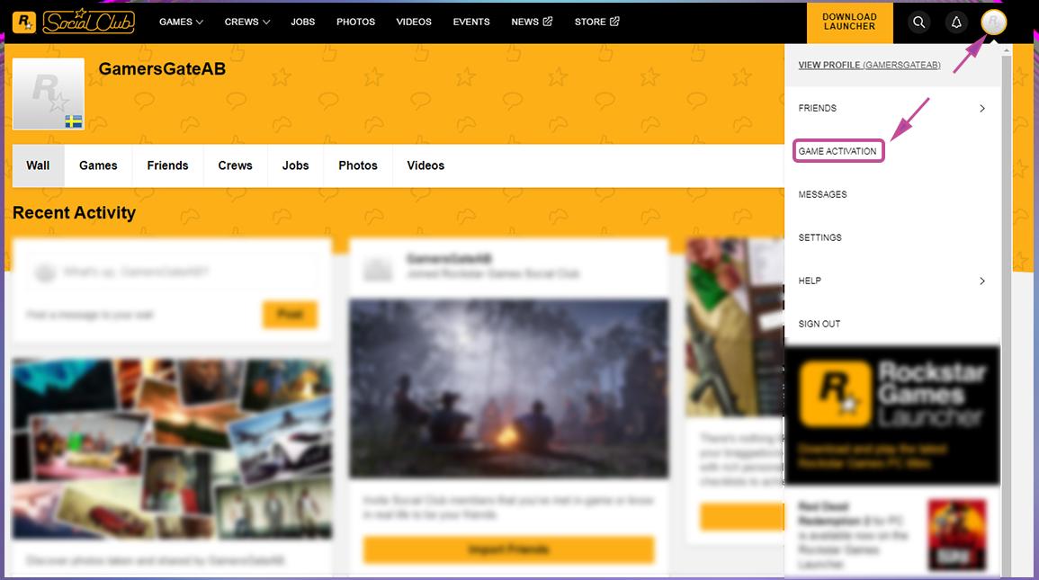Rockstar Aktivierung per Webseite. Schritt 2