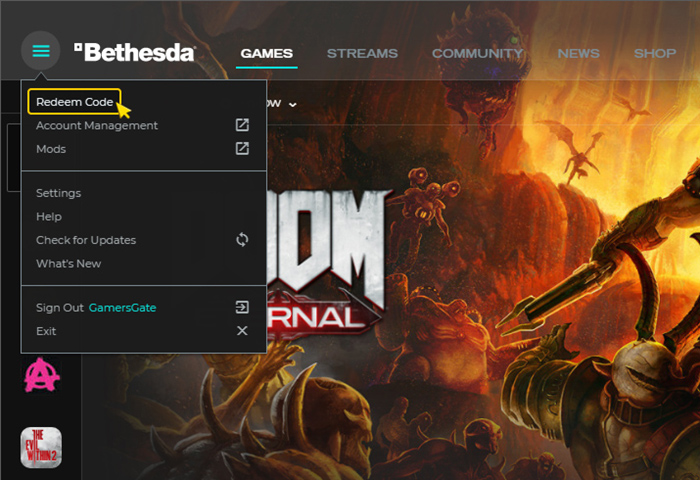 Activation on Bethesda Launcher. Step 3