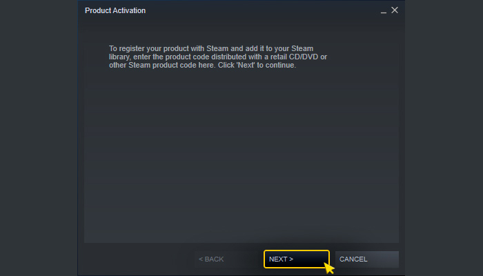 Activation on Steam. Step 2.1